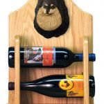 Pomeranian Dog Wood Wine Rack Bottle Holder Figure Blk/Tan 2