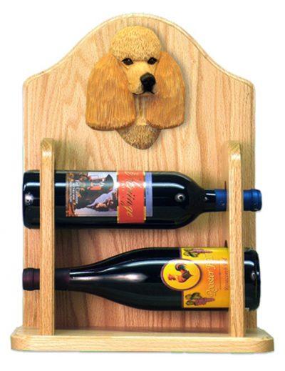 Poodle Dog Wood Wine Rack Bottle Holder Figure Apricot 2