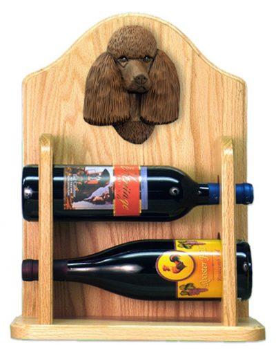 Poodle Dog Wood Wine Rack Bottle Holder Figure Brn 2