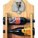 Poodle Dog Wood Wine Rack Bottle Holder Figure Grey 2