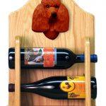 Poodle Dog Wood Wine Rack Bottle Holder Figure Red 2