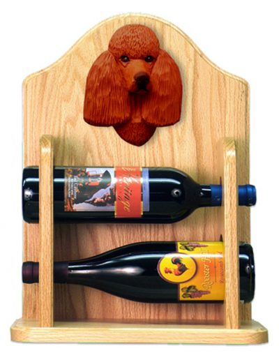 Poodle Dog Wood Wine Rack Bottle Holder Figure Red 2