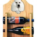 Poodle Dog Wood Wine Rack Bottle Holder Figure Wht 2