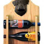 Pug Dog Wood Wine Rack Bottle Holder Figure Blk 2
