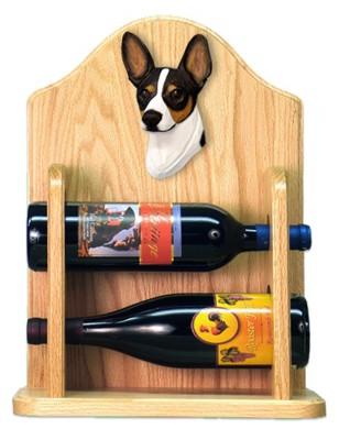 Rat Terrier Dog Wood Wine Rack Bottle Holder Figure Tri 2