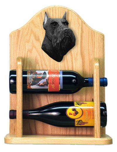 Schnauzer Dog Wood Wine Rack Bottle Holder Figure Blk 2