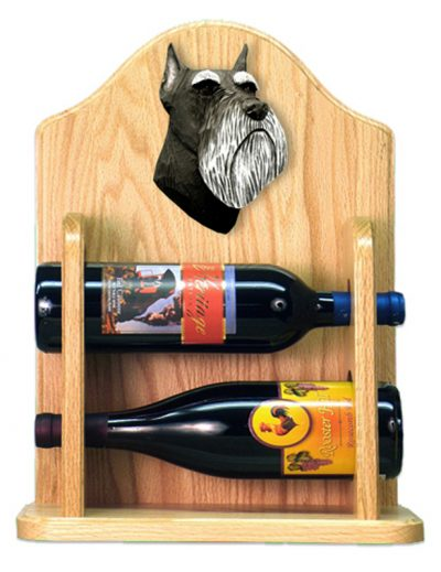 Schnauzer Dog Wood Wine Rack Bottle Holder Figure Blk/Silver 2