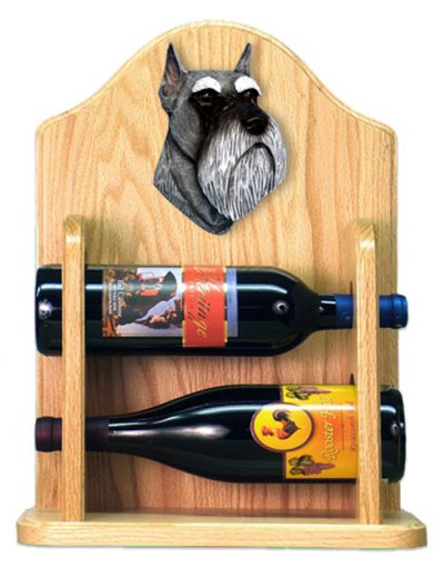 Schnauzer Dog Wood Wine Rack Bottle Holder Figure Salt/Pep 2