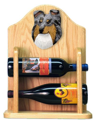Sheltie Wood Dog Wood Wine Rack Bottle Holder Figure Blu 2