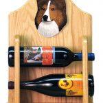 Sheltie Wood Dog Wood Wine Rack Bottle Holder Figure Sable 2