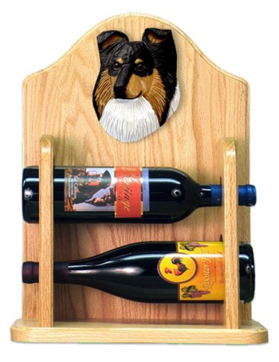 Sheltie Wood Dog Wood Wine Rack Bottle Holder Figure Tri 2