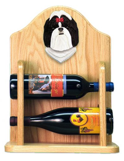 Shih Tzu Dog Wood Wine Rack Bottle Holder Figure Blk/Wht 2