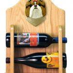 Shih Tzu Dog Wood Wine Rack Bottle Holder Figure Brn/Wht 2