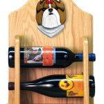 Shih Tzu Dog Wood Wine Rack Bottle Holder Figure Gold/Wht 2