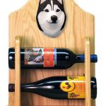 Siberian Husky Dog Wood Wine Rack Bottle Holder Figure Blk/Wht 2