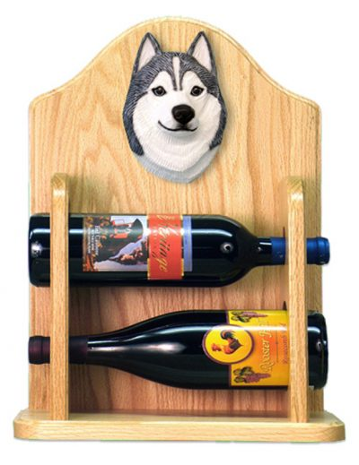 Siberian Husky Dog Wood Wine Rack Bottle Holder Figure Grey/Wht 2