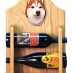 Siberian Husky Dog Wood Wine Rack Bottle Holder Figure Red/Wht 2
