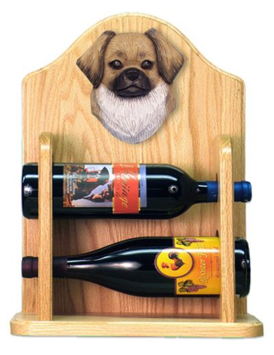 Tibetan Spaniel Dog Wood Wine Rack Bottle Holder Figure Fawn 2