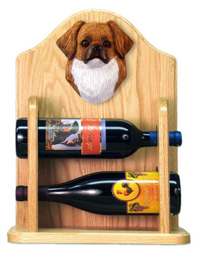 Tibetan Spaniel Dog Wood Wine Rack Bottle Holder Figure Red 2