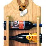 Toy Fox Terrier Dog Wood Wine Rack Bottle Holder Figure Red/Wht 2