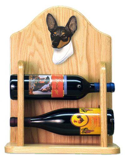 Toy Fox Terrier Dog Wood Wine Rack Bottle Holder Figure Tri 2