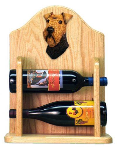 Welsh Terrier Dog Wood Wine Rack Bottle Holder Figure 2