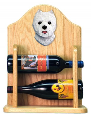 West Highland Terrier Dog Wood Wine Rack Bottle Holder Figure 2