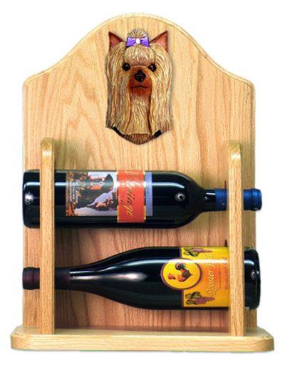Yorkshire Terrier Dog Wood Wine Rack Bottle Holder Figure 2