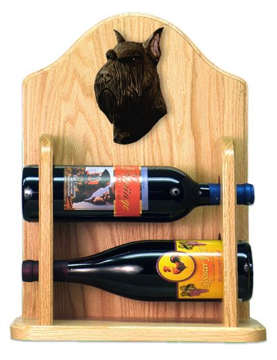 Schnauzer Dog Wood Wine Rack Bottle Holder Figure Blk 2