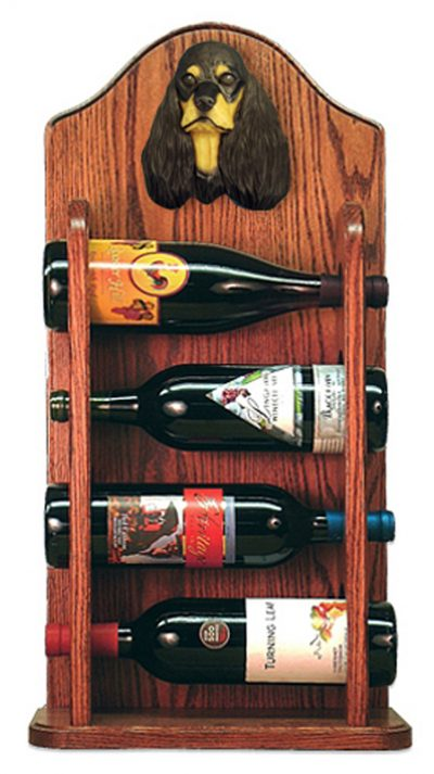 Cocker Spaniel Dog Wood Wine Rack Bottle Holder Figure Blk/Tan 3