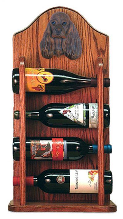 Cocker Spaniel Dog Wood Wine Rack Bottle Holder Figure Brn 3