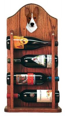 Basenji Dog Wood Wine Rack Bottle Holder Figure Red/Wht 3