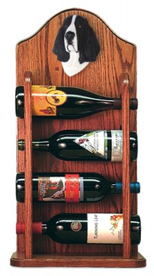 Basset Hound Dog Wood Wine Rack Bottle Holder Figure Blk/Wht 3