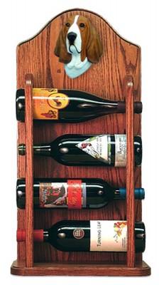 Basset Hound Dog Wood Wine Rack Bottle Holder Figure Red/Wht 3