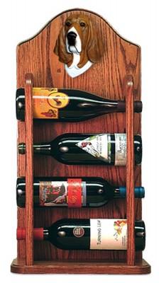 Basset Hound Dog Wood Wine Rack Bottle Holder Figure Tri 3