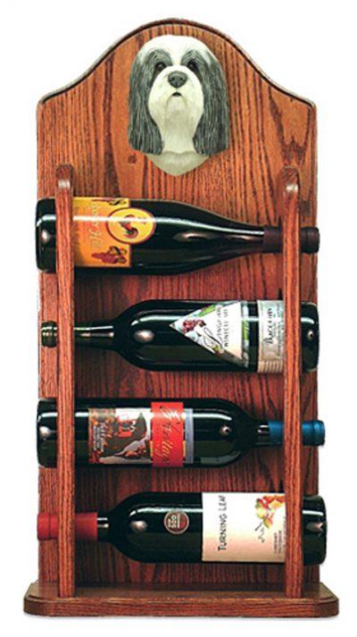 Bearded Collie Dog Wood Wine Rack Bottle Holder Figure Blu/Wht 3