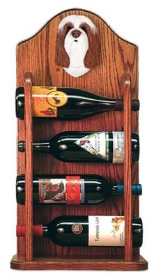 Bearded Collie Dog Wood Wine Rack Bottle Holder Figure Brn/Wht 3