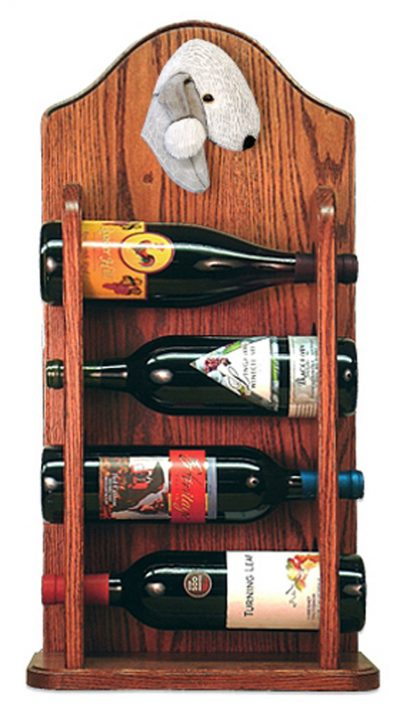 Bedlington Terrier Dog Wood Wine Rack Bottle Holder Figure Blu 3