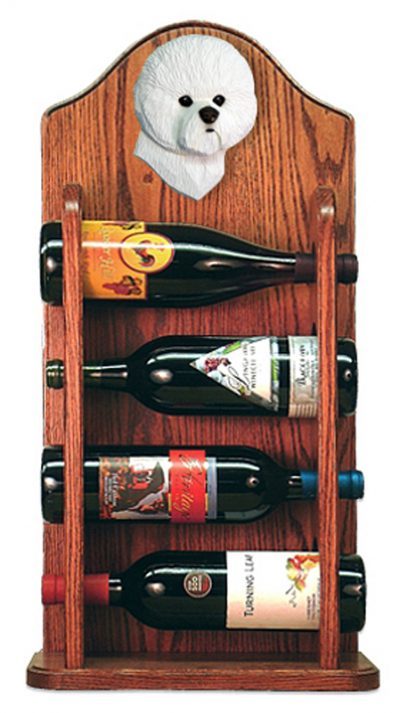Bichon Frise Dog Wood Wine Rack Bottle Holder Figure 3