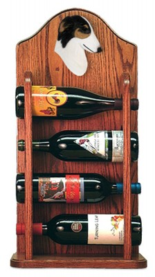 Borzoi Dog Wood Wine Rack Bottle Holder Figure Tri 3