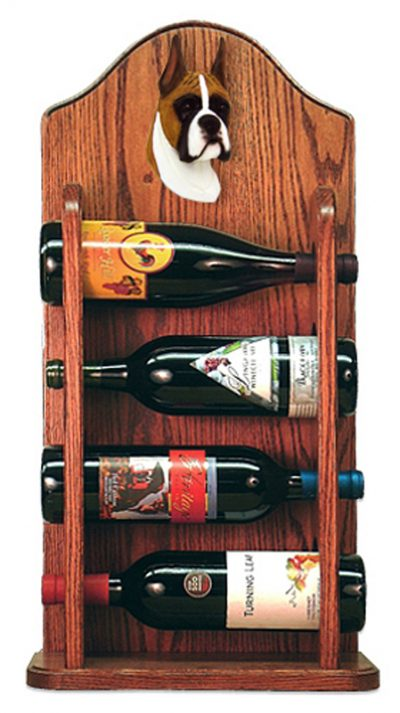 Boxer Dog Wood Wine Rack Bottle Holder Figure Fawn 3