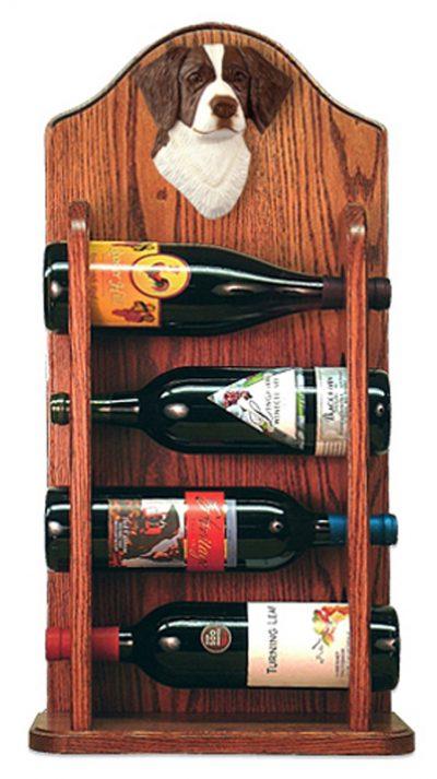 Brittany Dog Wood Wine Rack Bottle Holder Figure Liver 3