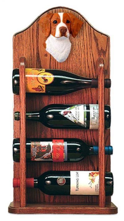 Brittany Dog Wood Wine Rack Bottle Holder Figure Orange 3
