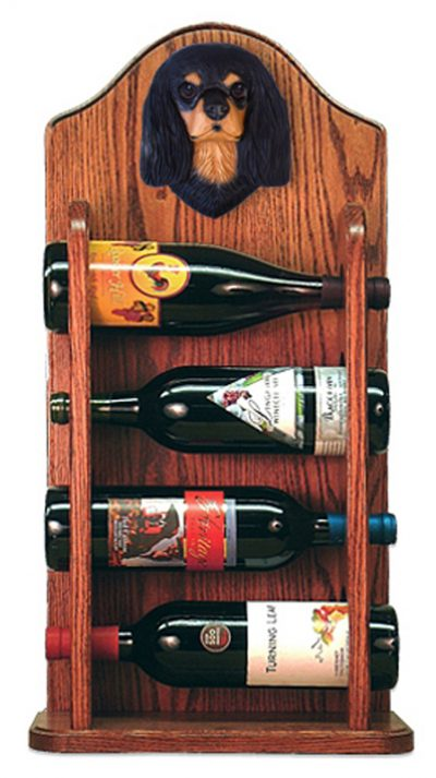 Cavalier Charles Dog Wood Wine Rack Bottle Holder Figure Blk/Tan 3