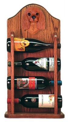 Cavalier Charles Dog Wood Wine Rack Bottle Holder Figure Ruby 3