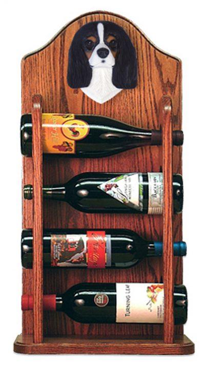 Cavalier Charles Dog Wood Wine Rack Bottle Holder Figure Tri 3