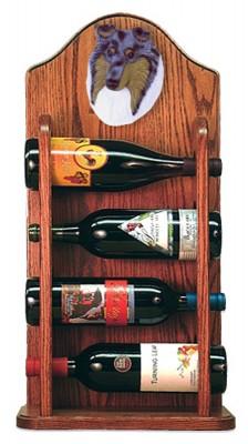 Collie Dog Wood Wine Rack Bottle Holder Figure Blu 3