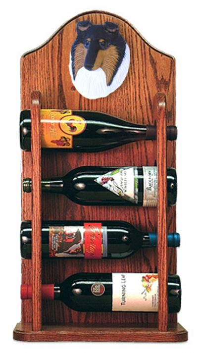 Collie Dog Wood Wine Rack Bottle Holder Figure Tri 3