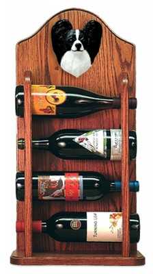 Papillon Dog Wood Wine Rack Bottle Holder Figure Blk/Wht 3