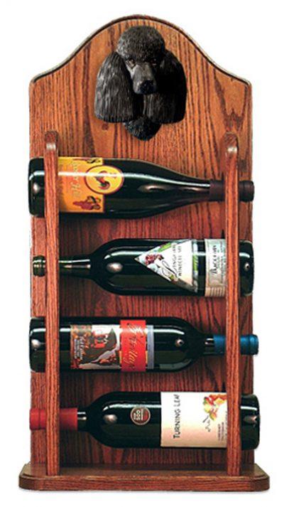 Poodle Dog Wood Wine Rack Bottle Holder Figure Blk 3